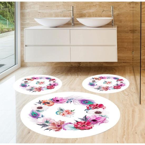 Evpanya Tropik Çiçekler 3'lü Banyo Paspas Seti