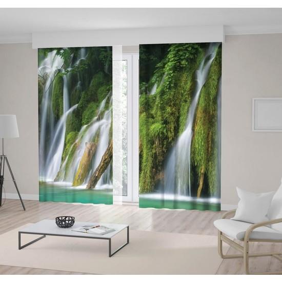 Henge Yeşil Orman Şelale Doğa Manzara Desenli Fon Perde 300 x 160 cm