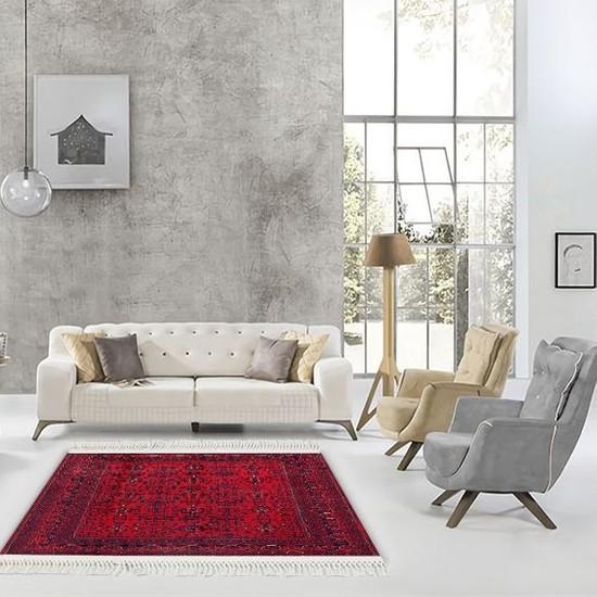 Henge Püsküllü Classic Motif Desen Baskılı Kırmızı Lacivert Kilim HG036 80 x 150 cm