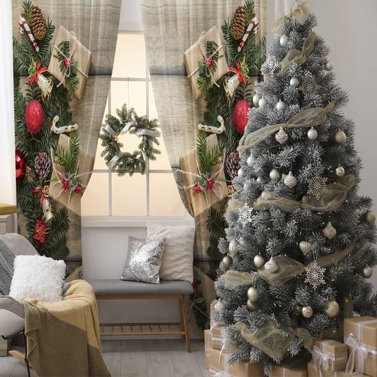 Henge Ahşap Masa Çam Kozalakları İle Noel Hediye Paketleri Fon Perde 150 x 160 cm