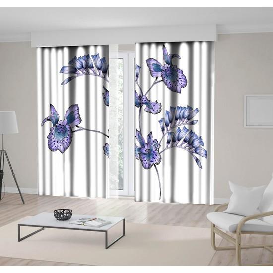 Henge Lila ve Morlu Uzun Yapraklar Desenli Fon Perde 300 x 160 cm