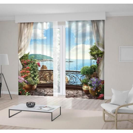 Henge Mavi Deniz Manzaralı Çiçekli Balkon Fon Perde 150 x 160 cm