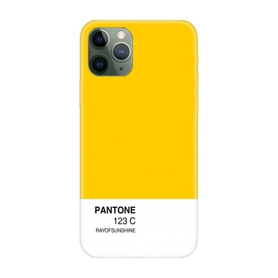 Casethrone Apple iPhone 11 Pro Max Sarı İçi Kadife Silikon Telefon Kılıfı Sr09 Pantone