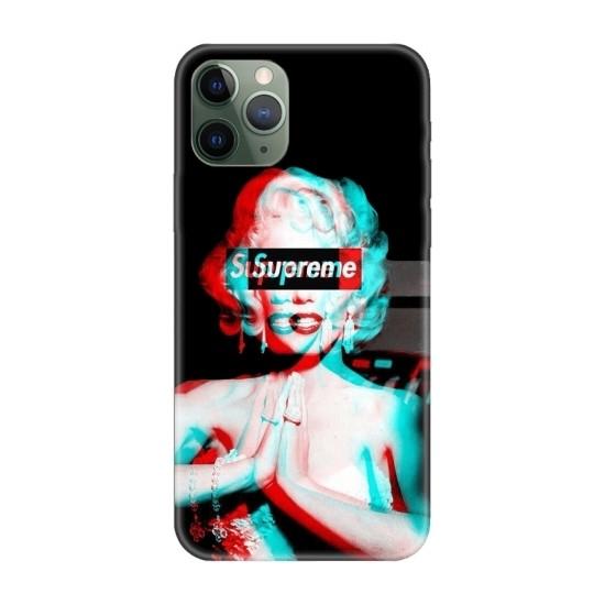 Casethrone Apple iPhone 11 Pro Max Siyah İçi Kadife Silikon Telefon Kılıfı Sb39 Marilyn Monroe
