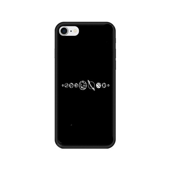 Casethrone Apple iPhone 7 Siyah İçi Kadife Silikon Telefon Kılıfı Sb50 Ufak Gezegenler