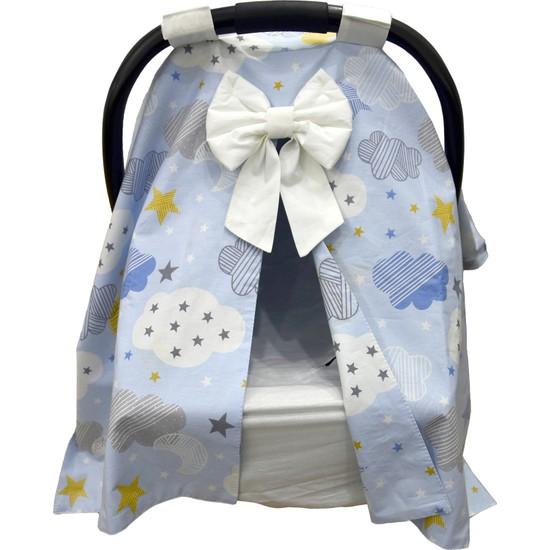 Bera Baby Mavi Bulut Desen Puset Örtüsü + Çarşafı