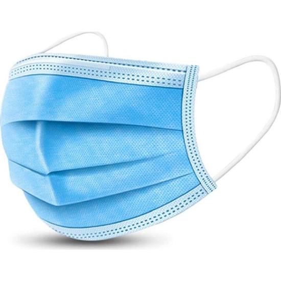Lote Grup 3 Katlı ,Telli Cerrahi Maske 100 Adet - Mavi Ultrasonik Yüz Maskesi