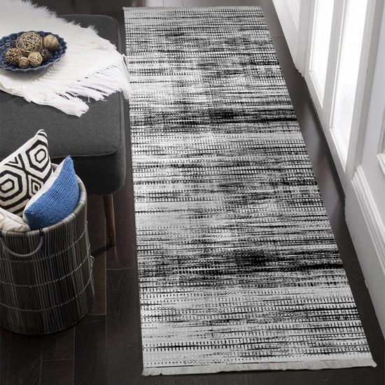 Ahsen Halı Siyah-Beyaz Kaymaz Jel Taban Yıkanabilir Halı 80x80 cm