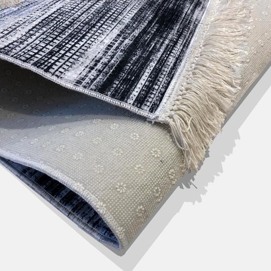 Ahsen Halı Siyah-Beyaz Kaymaz Jel Taban Yıkanabilir Halı 180x80 cm
