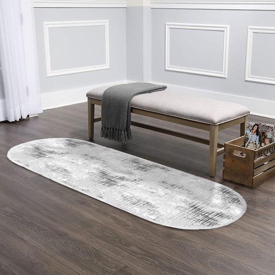 Ahsen Halı Oval-Yuvarlak Gri-Krem Kaymaz Jel Taban Yıkanabilir Halı 120x330 cm