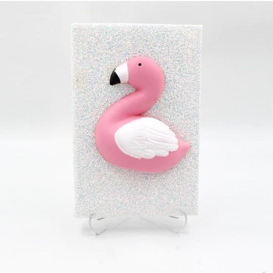 Hediye Deposu Beyaz Flamingo Squishy Simli Kendi Kutusunda Kabartmalı Sukuşi