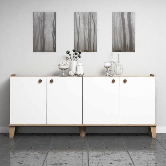 Bimossa Sümer Konsol Modern Görünüm Sepet Beyaz