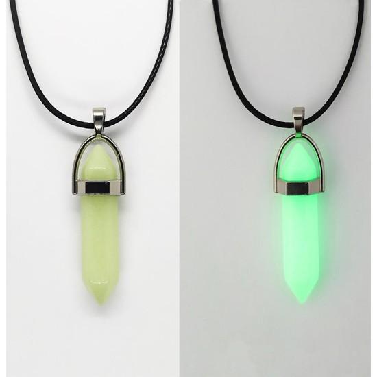 AlpCollection Fosforlu Neon Deri Ipli Yeşil Çivi Kolye