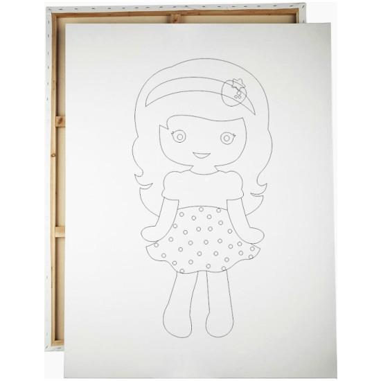 Desenli Tuval Çilekli Kız 25 x 35 cm