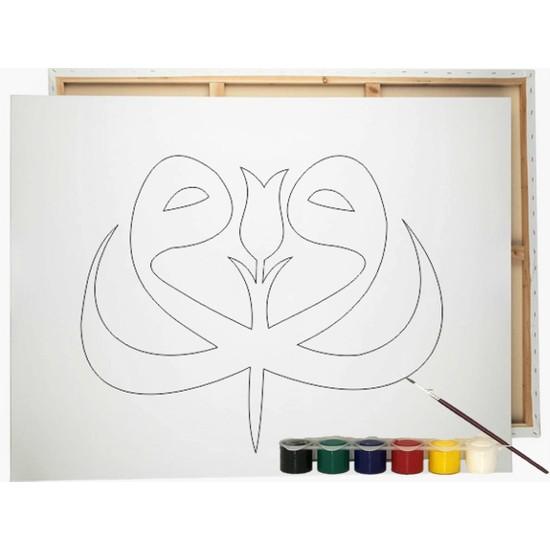 Desenli Tuval Vav ve Renkli Guaj Boya 6'lı - Fırça Seti 25 x 35 cm