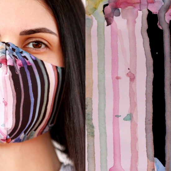Eight Date Fluid Paint Akışkan Boya Desenli Dijital Baskılı Yıkanabilir Sertifikalı Kadın Yüz Maskesi FPAB_01
