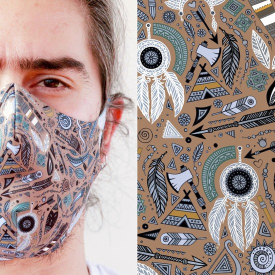 Eight Date Indian Kızıldereli Desenli Dijital Baskılı Yıkanabilir Yüz Maskesi IKYM_01