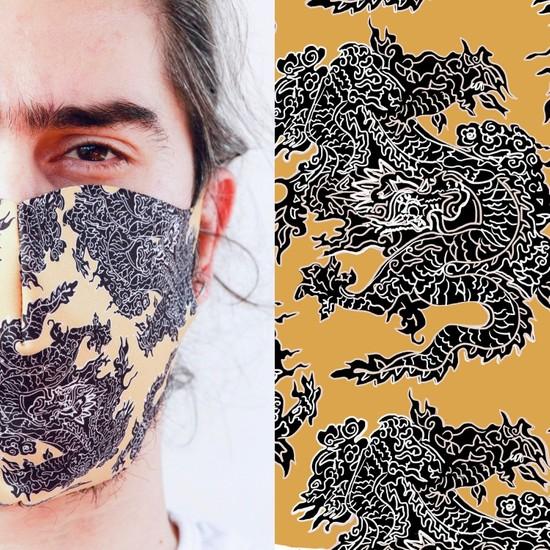 Eight Date Dragon Ejderha Desenli Dijital Baskılı Yıkanabilir Yüz Maskesi EDYM_01