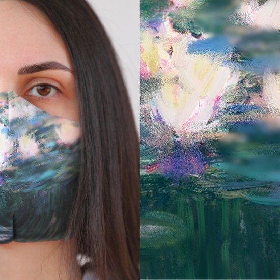 Eight Date Monet Picture Monet Tablo Desenli Dijital Baskılı Yıkanabilir Sertifikalı Kadın Yüz Maskesi MPMT_01