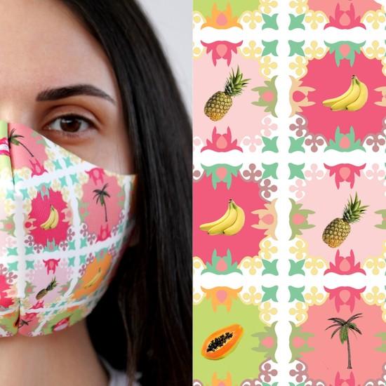 Eight Date Fruit Meyve Desenli Dijital Baskılı Yıkanabilir Sertifikalı Kadın Yüz Maskesi FMYM_01