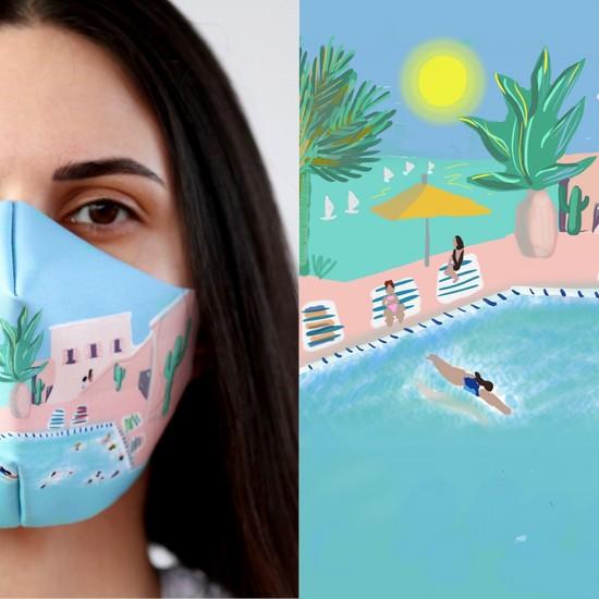 Eight Date Swimming Pool Havuz Desenli Dijital Baskılı Yıkanabilir Sertifikalı Kadın Yüz Maskesi SPHYM_01