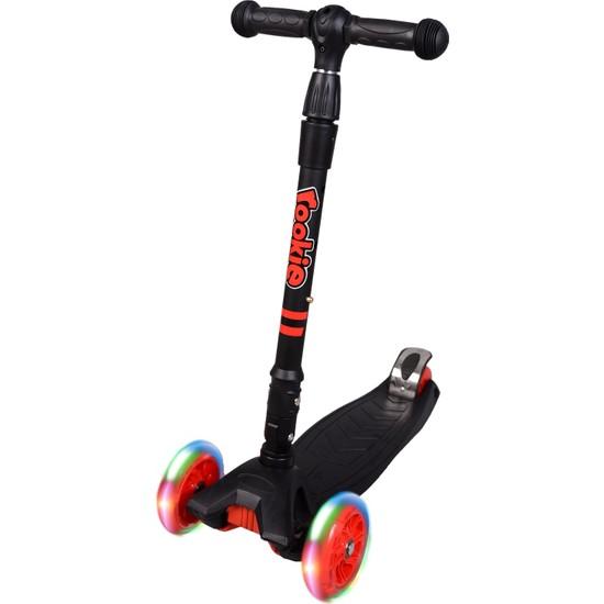 Rookie 3 Tekerlekli LED Işıklı Ayarlanabilir Katlanabilir Maxi Scooter - Siyah