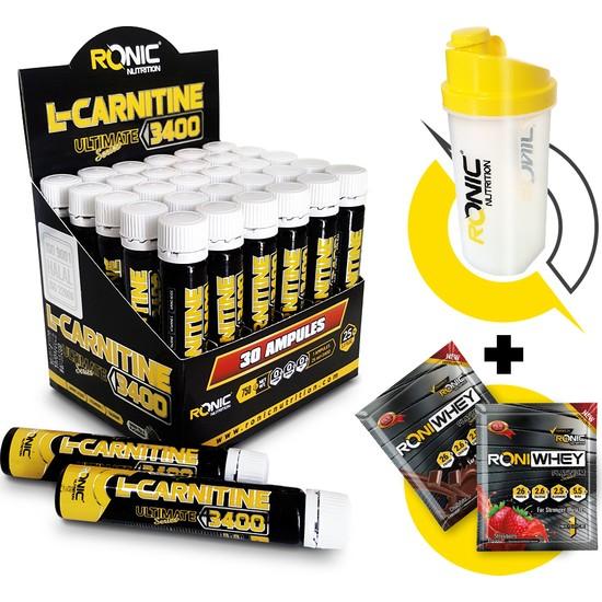 L - Carnitine 3400 Ultimate 30 Ampul (Böğürtlen Aromalı) + Shaker ve 2 Adet Tek Kullanımlık Whey Protein