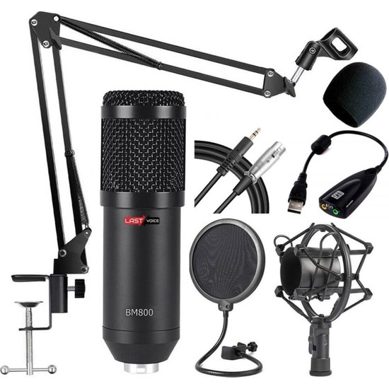 Lastvoice BM800 Full Black Set Mikrofon Stand Filtre Ses Kartı