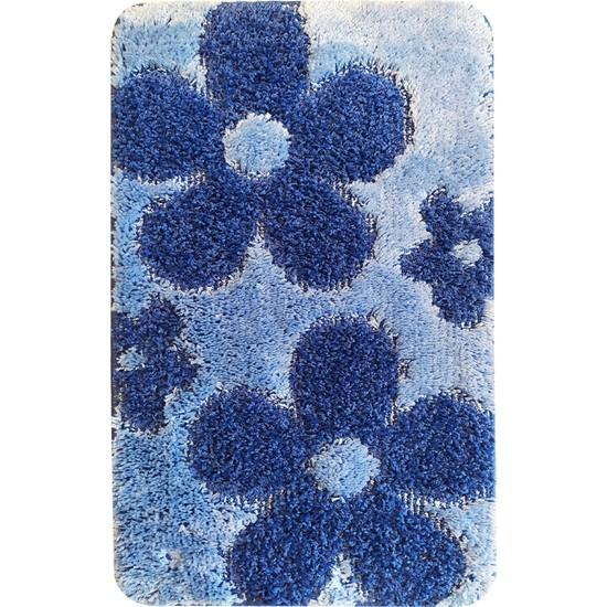 Evden Avm Kaymaz Taban Banyo Halısı Mavi Çiçekli 50 x 80 cm