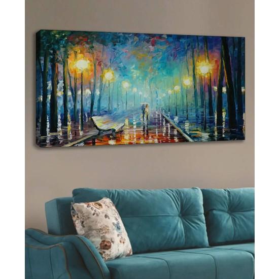 Shop365 Yaz Akşamı Mavi Soyut Kanvas Tablo 120 x 60 cm