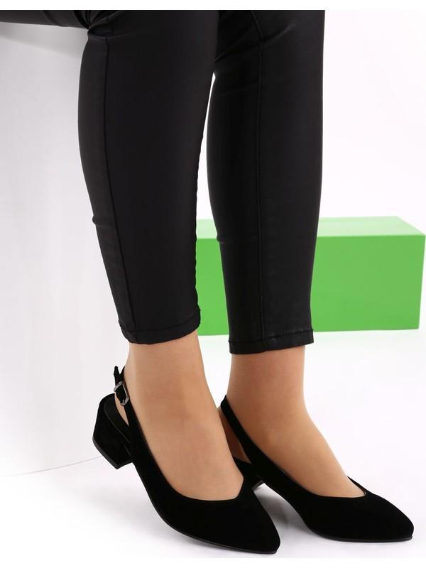 Hepfit 510-74 Kadın Sivri Burun Parmak Dekolteli Kısa Topuklu Slingbacks Ayakkabı 20Y