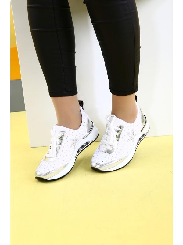 DGN 8006 Kadın Üstü Yıldız Silver Taşlı Stretch Spor Ayakkabı 20Y