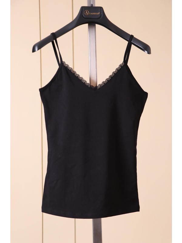 Aclassics Askılı Siyah Dantel Detaylı Pamuk T-Shirt