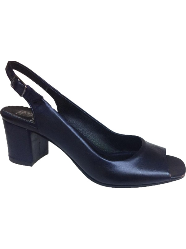 Elegan Lacivert Deri Kalın Topuk Ayakkabı