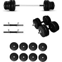 Borçinspor 25 kg Halter-Dambıl Seti- Ağırlık Seti-Vücut Geliştirme Seti