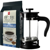 Trescol Guatemala French Press Öğütülmüş Kahve 250 gr + 1 lt French Press Çelik Cam Karaf