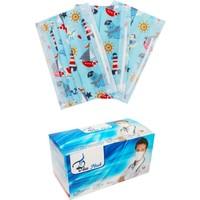 Blue Mask Deniz Tek Kullanımlık 3 Katlı Burun Telli Full Ultrasonic Çocuk Maskesi 50 Adet 2'li