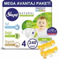 Sleepy Natural Bebek Bezi Mega Avantaj Paketi 4 Numara 240'LI 7 - 14 kg + Islak Mendil