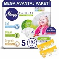 Sleepy Natural Bebek Bezi Mega Avantaj Paketi 5 Numara 192'LI 11 - 18 kg + Islak Mendil
