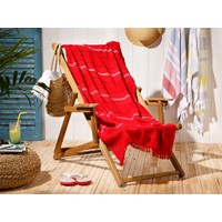 English Home Seaside Pes Çizgili Plaj Havlusu 70 x 150 cm Kırmızı