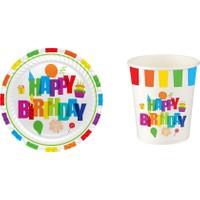 Kullan At Party Renkli Doğum Günü Karton Tabak-Bardak Set 16 Adet