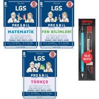 Bilfen Yayınları 8. Sınıf Pro Bil Matematik Türkçe Fen Soru Bankası Seti 3 Kitap + 3'lü Kalem Seti