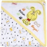 Beyzi Bebe Çift Kat Penye Nakışlı Şapkalı Battaniye Sarı