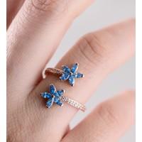 Armes Silver Unutma Beni Çiçeği Ayarlanabilir Mavi 925 Ayar Gümüş Kadın Yüzük