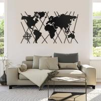 Kiez Metal Tablo Dünya Haritası Duvar Tablosu Çerçevesiz Dünya Lazer Kesim Metal Dekorasyon 145 x 80 cm