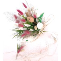 Öz Dokunuş Gelin Buketi Düğün Çiçeği Yapay Çiçek Beyaz Lale Demeti