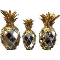 Blz Home 3'lü Aynalı Ananas Seti