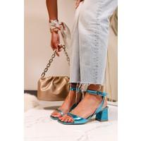 Limoya Olive Şeffaf Detaylı Alçak Topuklu Sandalet