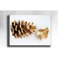Shop365 Altın çam kozalağı ve yaprak Kanvas Tablo 45 x 30 cm SB-74708