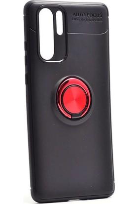 Aksesuarkolic Huawei P30 Pro Kılıf Ultra Korumalı Yüzüklü Standlı Manyetik Ravel Silikon Siyah - Kırmızı